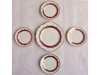 5 Porcelain PLATES Red, Gold & White Rucni Malba Bohemian Czech Art China