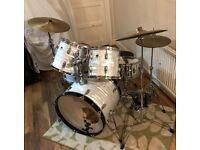 Ludwig Rockers drum kit, Zildjian cymbals, Pearl double bass pedal, Le Blond hard cases. Bargain