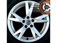 "17"" Genuine Audi A4 alloys Renault Trafic Vauxhall Vivaro perf cond excel tyres."