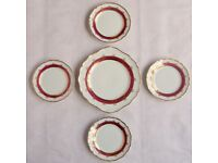 Red, Gold & White Porcelain PLATES Rucni Malba Bohemian Czech Art China x5