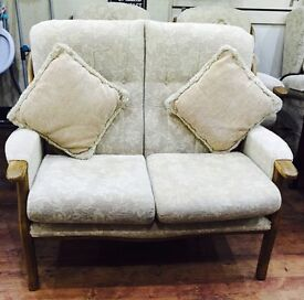 Wooden frame fabric cushion 2 seater sofa and 2 chairs