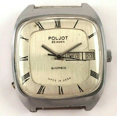 Vintage soviet POLJOT watch Day and Date Square case Made in USSR *IN USA* #1611