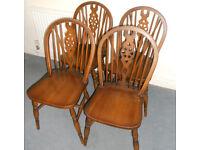4 Hardwood Wheelback Dining Chairs