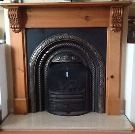 Cast Iron Fireplace, Wooden Mantel and Marble Hearth