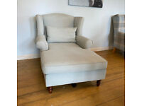 Quality Pale Blue Super Comfy & Stylish Chaise Chair