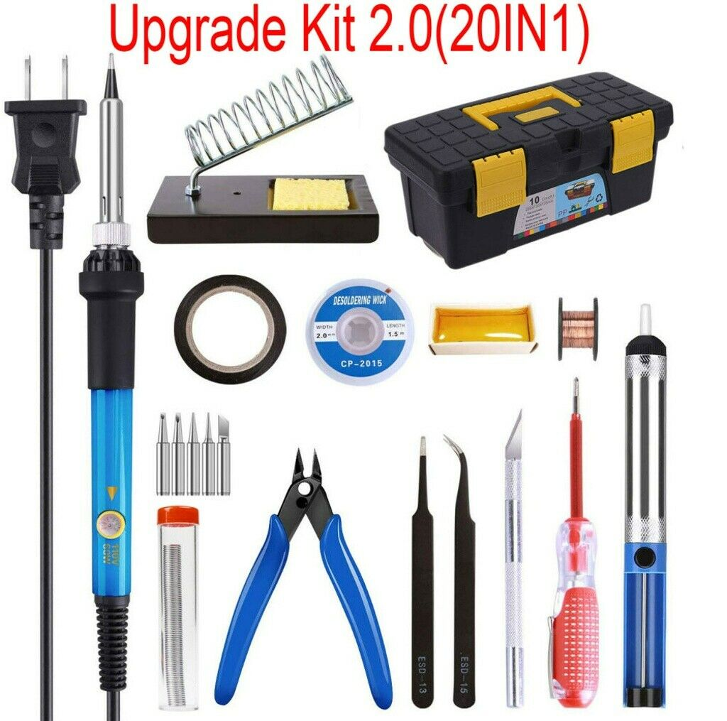 Electric Soldering Iron Gun Tool Kit 60W Welding Desoldering Pump Tool Set US//AU