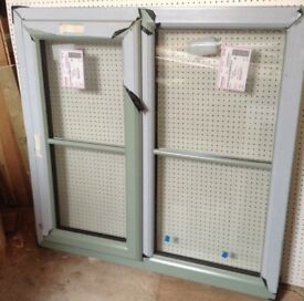 NEW UPVC WINDOW CREAM OUTSIDE / W HITE INSIDE 1150 H X 1040 WIDE WITH DOUBLE GLAZING £ 95