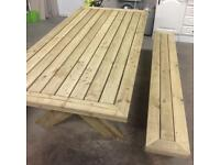 Rectangle picnic table with 2 bench seats