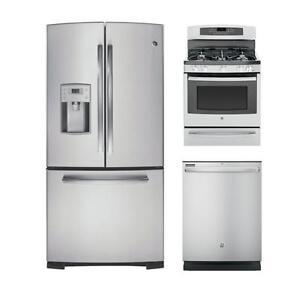 Combo cuisine 3 pièces en acier inoxydable : Frigo 33'', cuisinière 30'', lave-vaisselle 24''