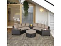 8 PCs Rattan Garden Furniture Set Rattan Sofa Set w/ Side Table & Cushioned
