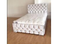 CRUSH VELVET SLEIGH BED WITH HEADBOARD