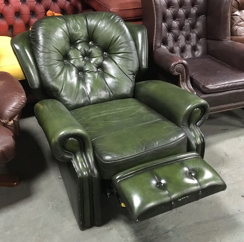 Green leather Chesterfield RECLINER chair WE DELIVER UK WIDE