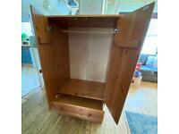 Pine wardrobe with 2 drawers