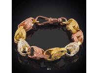 9ct large tri tulip bracelet