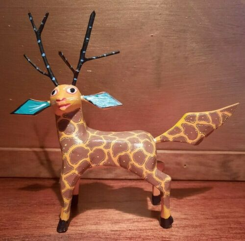 Spotted Deer Antlers Oaxacan Alebrije, Wooden Carved Carving Oaxaca, Mexico