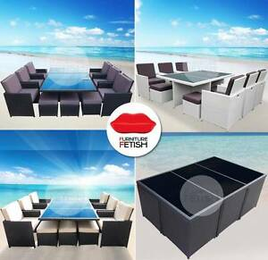 13 Piece Outdoor Furniture Wicker Dining Set . Chairs & Ottomans Nerang Gold Coast West Preview