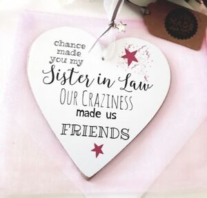 Personalised To Sister In Law Craziness Friends 12cm Heart Plaque Card Ri