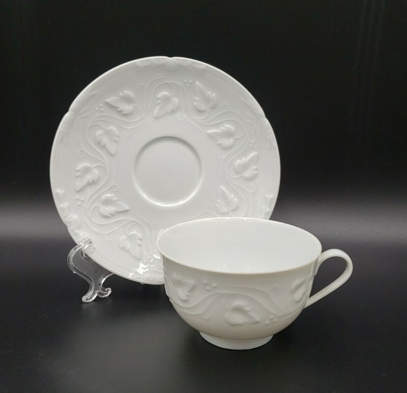Chas Field Haviland IMPERATRICE WHITE Cup & Saucer Set MINT