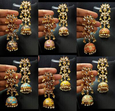 Designer Meenakari Kundan Pearl Pakistani US Women Canada Jhumki Earrings Set