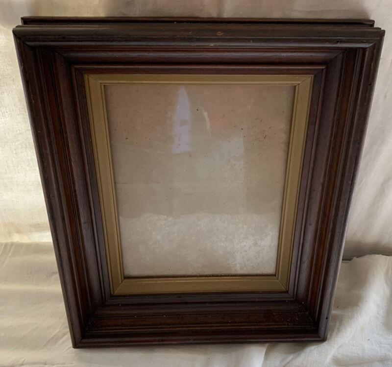 "Deepwell Walnut Picture Sz 8.25"" x 20./5"" Frame Antique Gold w/glass 2.75"" deep"