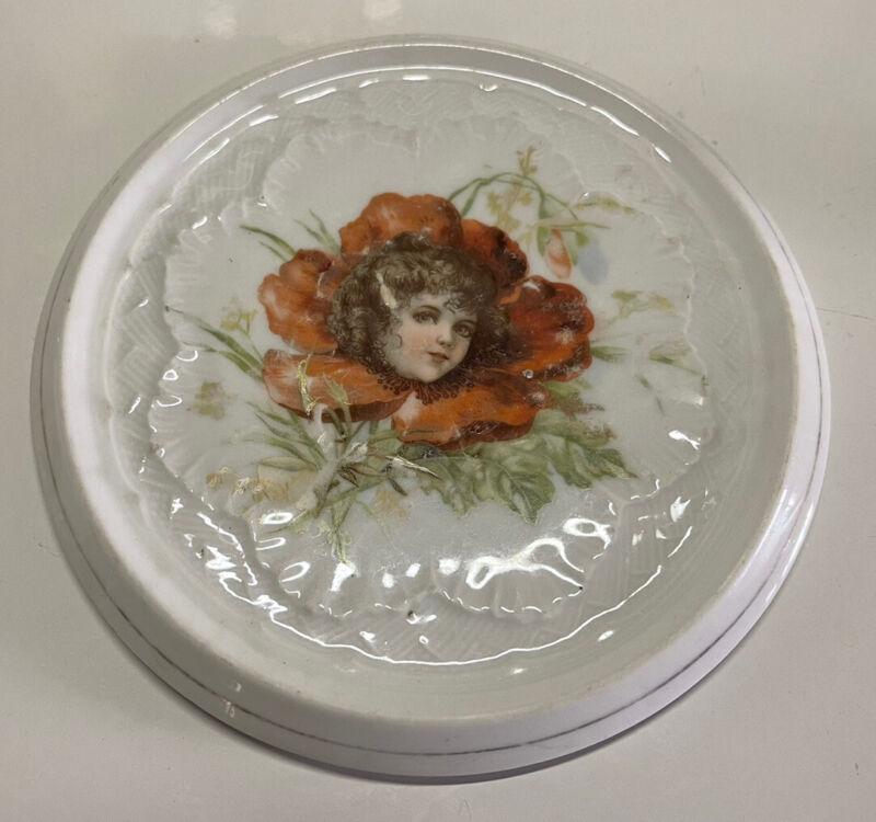 Vintage Teapot Trivet Ceramic China Flower Fairy Girl Shabby Chic Transfer Ware
