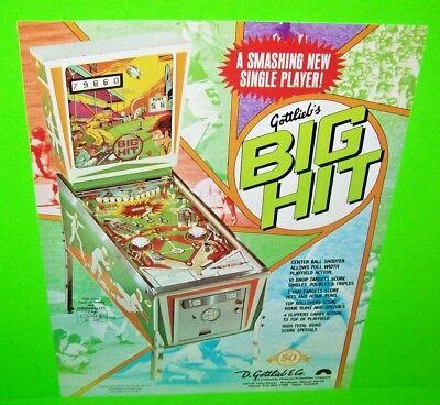 Gottlieb BIG HIT Original 1977 NOS Arcade Flipper Game Pinball Machine Flyer