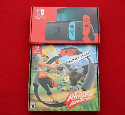 Nintendo Switch 32GB Console V2 w/Neon Red/Blue Joy-Con & Ring Fit Adventure NEW