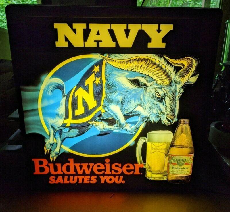 Vintage Budweiser Navy Fluorescent Lighted Beer Sign Bud 1980s