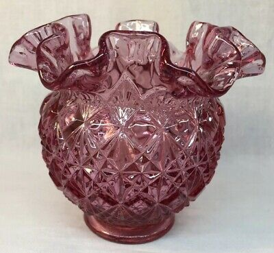 Fenton Art Glass Dusty Rose Cut And Block Rose Bowl Dusty Rose Bowl