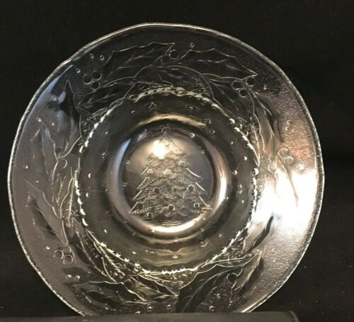 Christmas Bowl Glass Christmas Tree Imprinted on Bottom