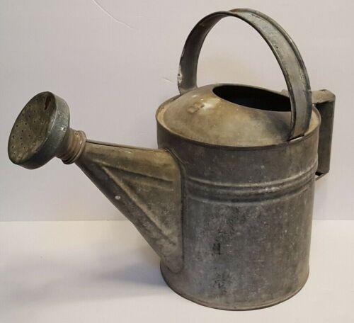 Vintage Galvanized Steel Metal Watering Can With Sprinkler Head