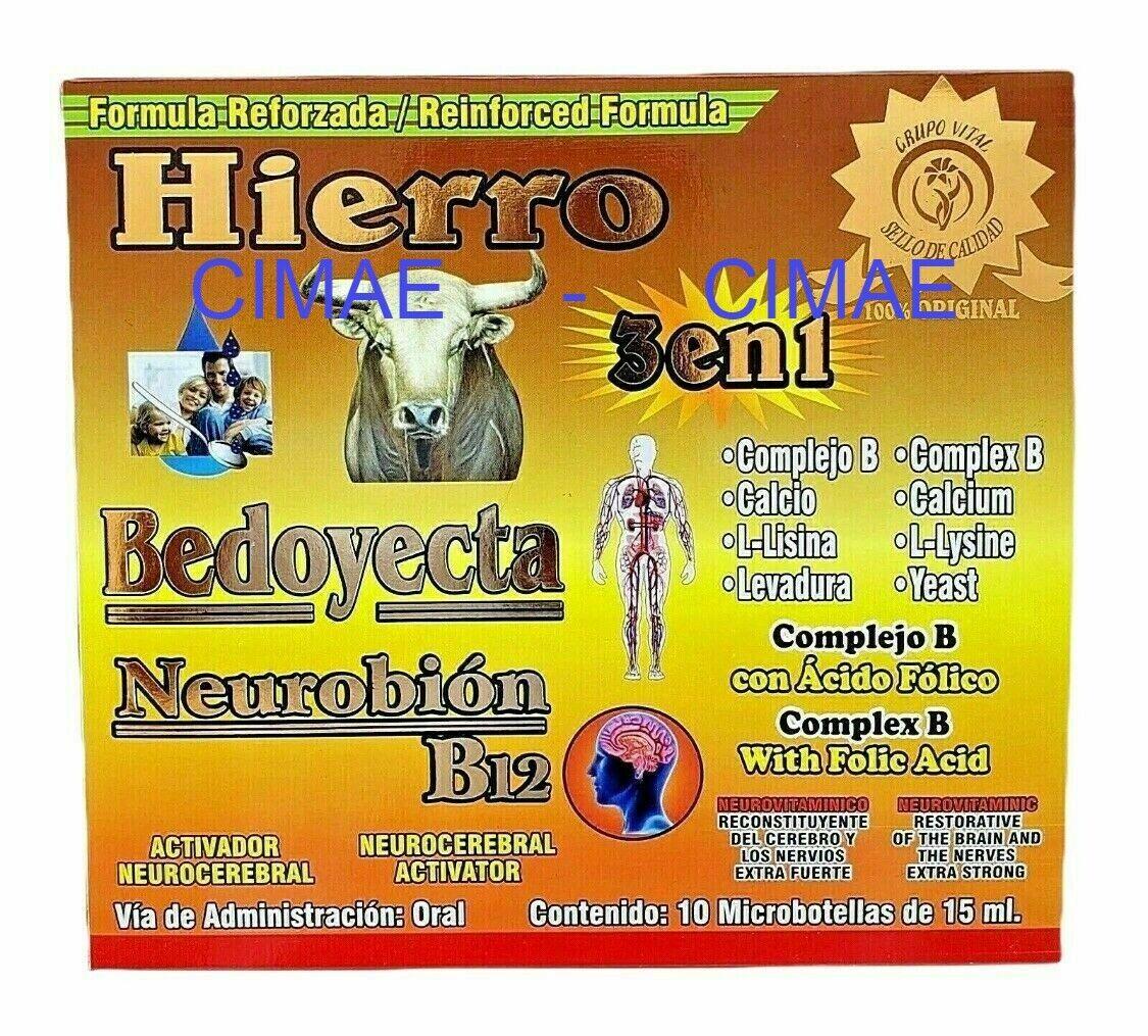 NEUROBION B12 BEDOYECTA HIERRO Reinforced 10 Bottles 15 ml Complex B       CIMAE