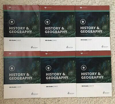 LIFEPAC Alpha Omega 6th grade History & Geography Student Set 6 Units Grade Lifepac History Unit