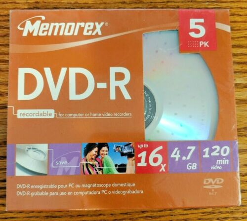 Memorex DVD-R Recordable DVD 5 Pack 16X 4.7GB 120 Minutes With Cases Sealed