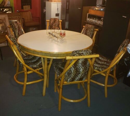 Vtg MCM RATTAN Tiki Boho PRETZEL DINING TABLE & 6 Cheetah CHAIRS Reupholstered