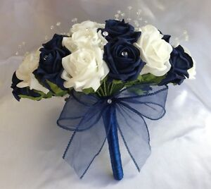 WEDDING FLOWERS NAVY BLUE WHITE FOAM ROSE BRIDE BOUQUET CRYSTAL