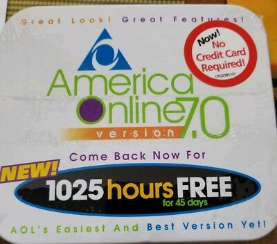 AOL CD Disk Tin Box 7.0 Advertising Promotion 1025 Hours Unopened