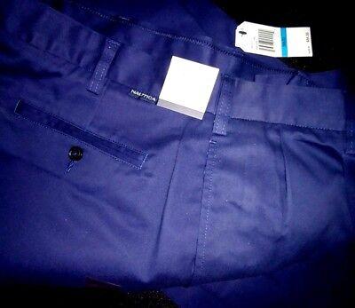 NWT Men's NAUTICA Pants Double Pleat Cotton Trousers 36 x 32  Navy Blue -