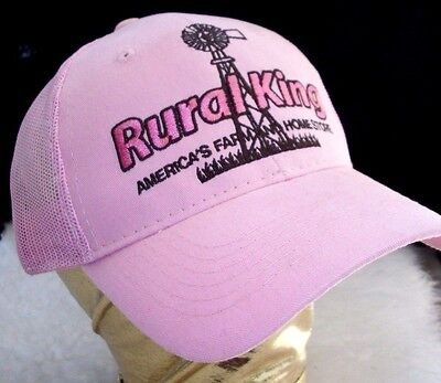 Rural King Hat Pink Ladies Cap Mesh Snapback Farmer Country 4 H Rodeo Rider Gift