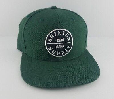 Brixton Supply Trade Mark Hat Green with Black/White Logo Adjustable Snapback