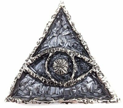 BIG HEAVY American Modernist ADAM-VINCENT Sterling Silver ALL SEEING EYE Pendant