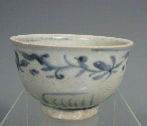 Thai Thailand Sukhothai Sawankhalok Blue & White Decor Pottery Bowl 13-14th c