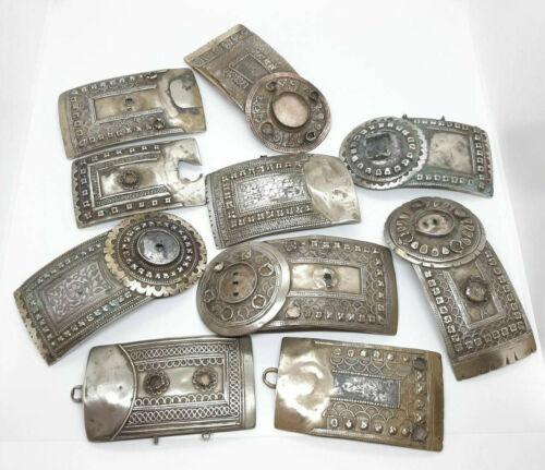 Antique Caucasus Niello Silver Parts Buckles 19th century.