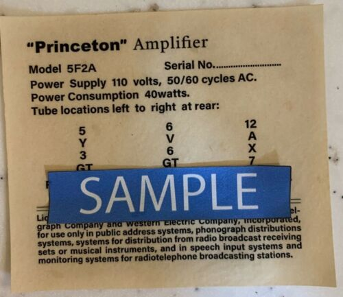 Vintage Tweed Princeton Amplifier 5F2A Replacement Tube Chart