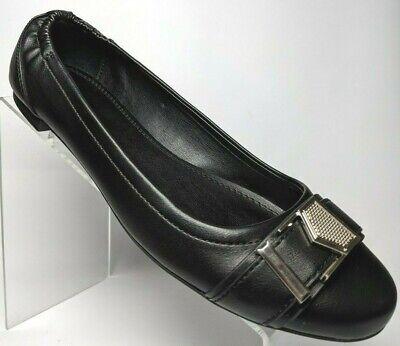 Calvin Klein Cirus Ballet Flats Silver Buckle Slip On Vegan Womens 8.5 M Black