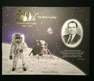 2019 Apollo 11 50th Anniversary Engraved Print: Eagle Has Landed  1969-2019 ~BEP