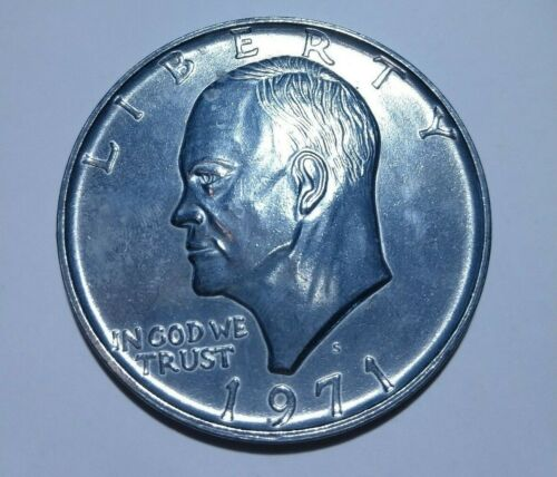 Large 3 Inch Novelty Medal/Coin/Coaster/Paperweight 1971 S Ike Eisenhower Dollar