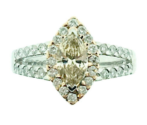 Marquise-shaped Champagne Diamond Ring in Plat/RG Split Shank Setting  - HM1666