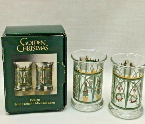 Pair of Holmegaard of Copenhagen Christmas Dram Glasses 1999 in box