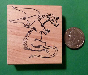 Dragon Rubber Stamp, wood mounted